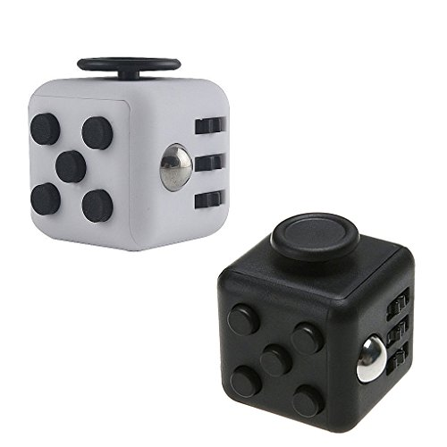 Fidget Cube – Perfect Attention Toy to Relieve Stress and Anxiety for Children & Adults 2-Set Focus Cube ( White & Black)