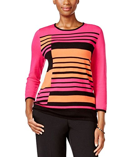 Alfred Dunner Striped Crew-Neck Sweater (Large, (Alfred Dunner Nylon Sweater)