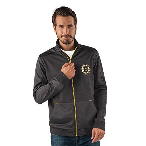 NHL Boston Bruins Men's Progression Full Zip Track Jacket, Large, Black