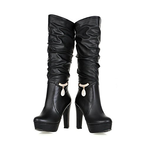 Leather Black Ornament Metal Platform Boots Ladies Chunky Imitated 1TO9 Heels wxqI0OHWz