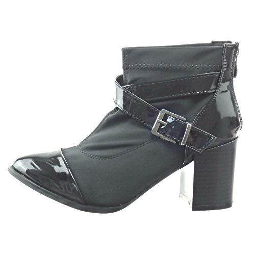Sopily - Chaussure Mode Bottine bi-matière Cheville femmes boucle brillant Talon haut bloc 8 CM - Noir