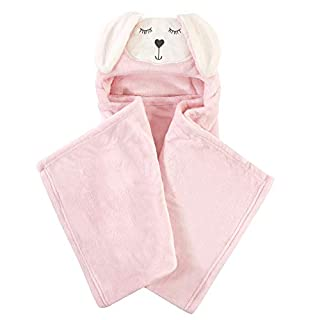 Hudson Baby Unisex Baby and Toddler Hooded Animal Face Plush Blanket, Modern Bunny, One Size