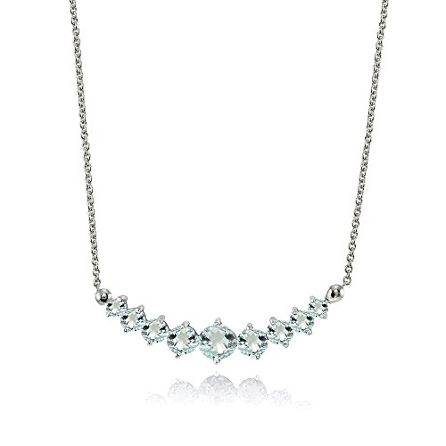 Lovve Sterling Silver Light Aquamarine Graduated Journey Necklace with 18 Inch Chain