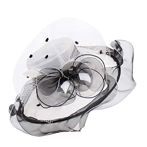 Weiliru Women's Church Kentucky Derby Fascinator Bridal Hat Tea Party Sun Travel Wedding Organza Floral Cap