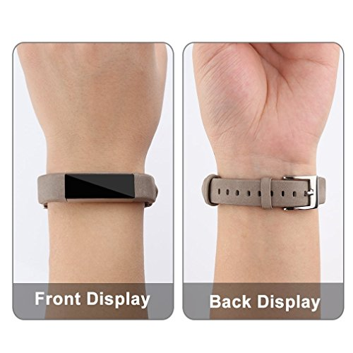 Tobfit Fitbit Alta HR and Fitbit Alta Leather Bands Replacement Leather Watch Bands With Stainless Steel Buckle for Fitbit Alta HR and Alta (Chocolate Brown+Suede Grey) by Tobfit (Image #5)