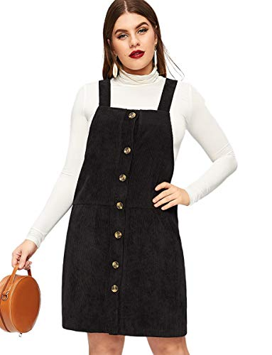 Romwe Women's Plus Size Straps A-line Buttons Up Corduroy Pinafore Bib Pocket Overall Dress Black 1XL