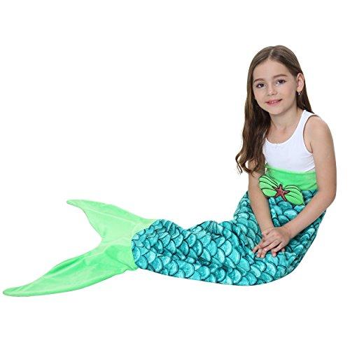 Kids Mermaid Tail Blanket for Girls Toddlers Teens,All Seasons Soft Flannel Fleece Wearable Mermaid Blanket Child Sleeping Bag for Bed Sofa Thankgiving Christmas Birthday Party Best Girls Gift Blue -