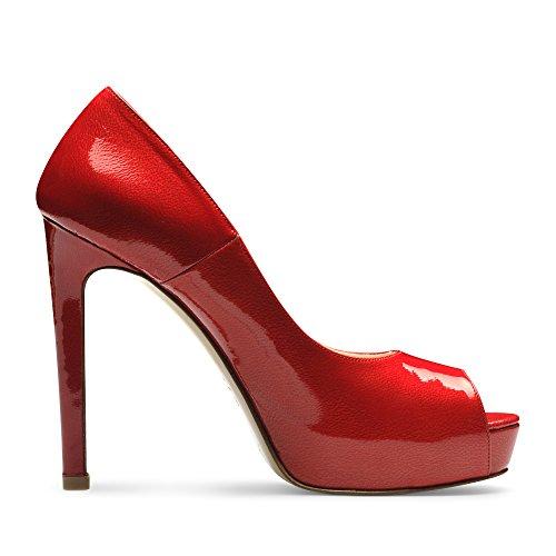 beppina Mujer peeptoe lacado con relieve Rojo