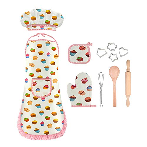 Girls Gifts Age 3-8, Girls Kids Chef Costume Girls Kids Chef Apron and Hat Set Cooking Baking Set for Kids Toddlers Girls Best Birthday Christmas Xmas Gifts for Girls Kids Age 3-8 White DMCF4