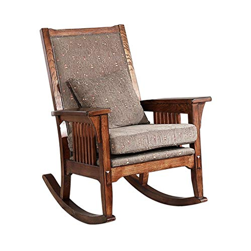 (HYYTY-Y Vintage Solid Wood Rocking Chair, Cotton Linen Cushion Single Sofa Terrace Leisure Armchair)
