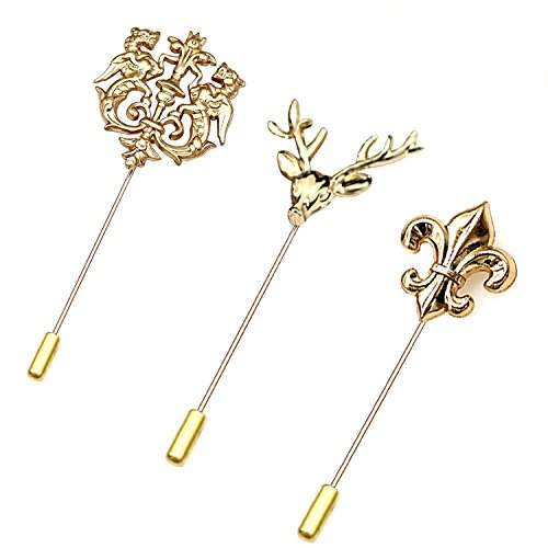 Lapel Stick (rhungift 3 pack Winged Lion Brooch Stick Pin Elk Head Brooch Lance Lapel Stick Pin Set)