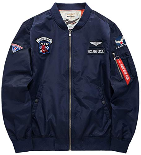 Classica Giubbotto Giubbino Force Flight Per Badge Con Size color Uomo M blau Zip Air Jacket Screenes Leggera Vintage Bomber 4 Vento Giacca A Patch Y0Xq55