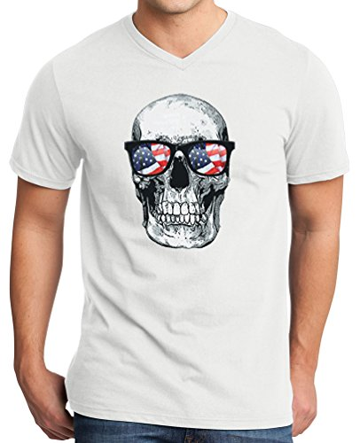 TshirtsXL Big Men's American Glasses Skull V-Neck Luxury T-Shirt, White, 4X