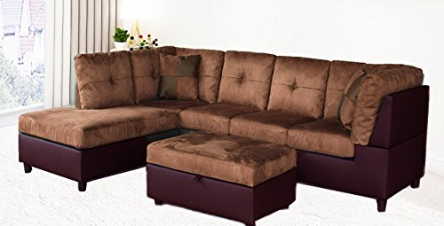 Legend 3 Piece, Microfiber and Faux Leather Right-Facing Sectional Sofa Set with Free Storage Ottoman, Brown