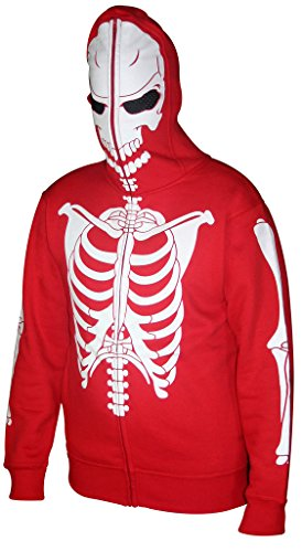 Men Full Face Mask Skeleton Skull Hoodie Sweatshirt Halloween Costume White Red Bones M (Red Skull Costume)