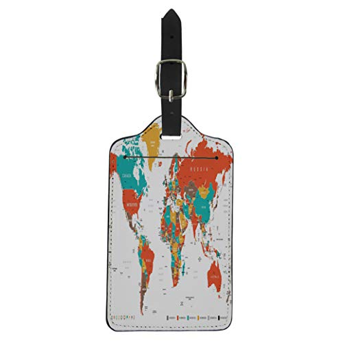 (Pinbeam Luggage Tag Green Red Yellow Brown World Map Borders Countries Suitcase Baggage Label)