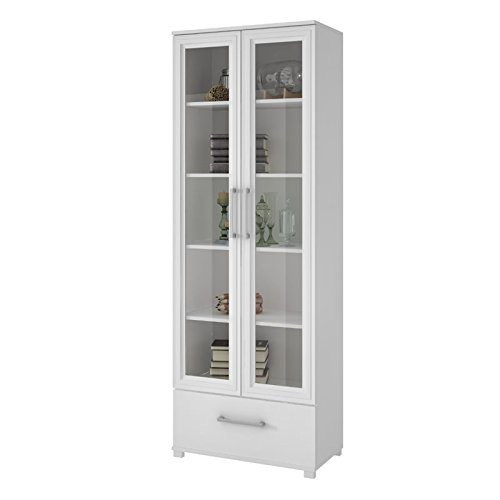 Manhattan Comfort Serra 1.0 Bookcase Collection Modern 5 Shelf Bookcase Display Case with 2 Glass Doors and 1 Bottom Drawer, (Dining Room Glass Cabinet)