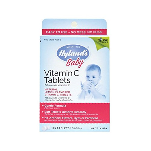 Hyland's Baby Vitamin C Tablets, Dietary Supplement with Natural Lemon Flavored, 125 Count (C Vitamin Lemon)