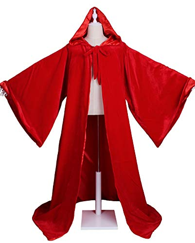 LuckyMjmy Velvet Wizard Robe with Satin Lined Hood and Sleeves -