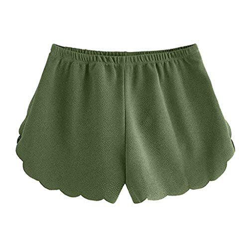 CCatyam Short Pants for Women, Plus Size Yoga Shorts Trousers Chiffon Elastic Waist Solid Casual Fashion Green