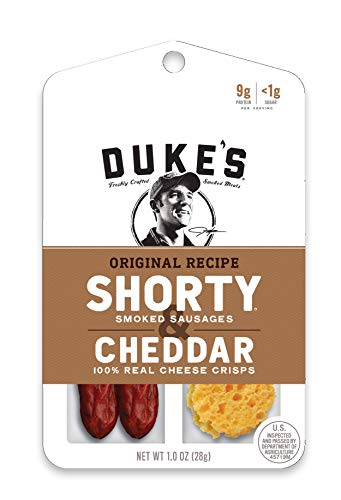 Duke's Shorty Smoked Sausages & Cheese Crisps, Original Recipe & Cheddar, 1 Ounce, 12 Count
