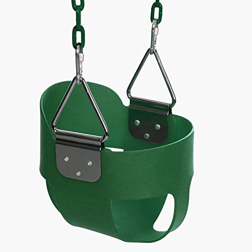 (Funmily High Back Full Bucket Toddler Swing Seat with 60 inch Plastic Coated Swing Chains & 2 Snap Hooks Fully Assembled - Swing Set (Green) )