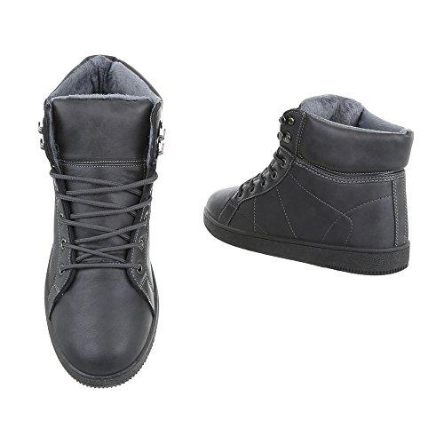 High-Top Sneakers Damenschuhe High-Top Schnürer Schnürsenkel Ital-Design Sneaker Grau