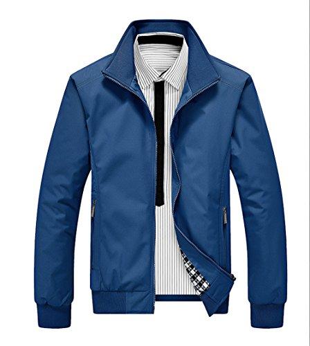 Invernali Outwear Collo Cappotto Autunno Eleganti Giacca Alto Lunga Classico Tasche Da E Jacket Xxl Manica Con Casual Uomo blu Haroty Zip xqwFP6w