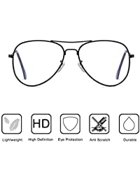 Clear Aviator Glasses Lens Premium Classic Metal Frame...