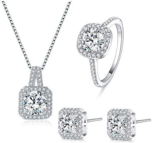 Majesto Halo 4 pcs Jewelry Set for Women and Bridesmaids Necklace and Earring Set 925 Sterling Silver Gift - Ring Size 7 (Halo 4 Pc)