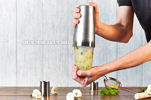 -[ Andrew James Boston Cocktail Set, 10 Piece Kit with Elegant Gift Box, Boston Glass, Stainless St