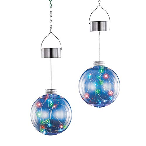 Ornament Collection Set - Collections Etc Solar Lighted Multicolor Sphere Ornaments - Clear with Dazzling Lights, Set of 2