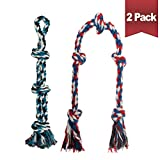 BINGPET Dog Rope Toys for Medium to Large Dogs (24-Inch + 49-Inch) - 2 Pack Interactive Aggressive Chew Toys Set - Durable Teething Toys for Tug of War, 100% Cotton