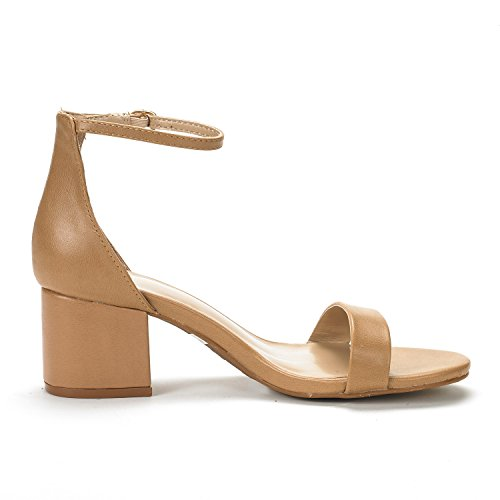 Women's Low Pump Nude Ankle with Chunk Pu Low Heel DREAM Sandals PAIRS Strap gqxFAO5ww
