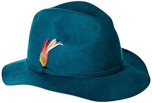 Scala Women's Felt Safari Hat with Feather Trim, Teal, One Size (Felt Sombrero)