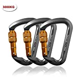 Likorlove 3 Packs 30KN Rock Climbing Carabiner, D-shaped Locking Screwgate Carabiner Hot-forged Magnalium Climber for...