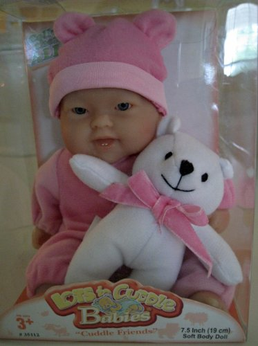 (Berenguer Lots to Cuddle Babies Pink with White Teddy Bear)