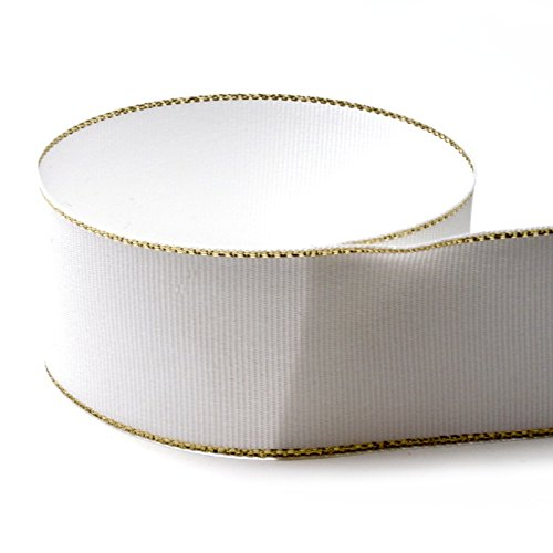 1-3/8 Jingle Bells Grosgrain Ribbon (White and Gold Tinsel Ribbon) - 100 Yards - Made in the (Striped Jingle Bell)