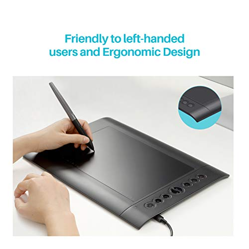 Huion H610 Pro V2 Graphic Drawing Tablet Chromebook and Android Supported Pen Tablet Tilt Function Battery-Free Stylus 8192 Pen Pressure with 8 Express Keys