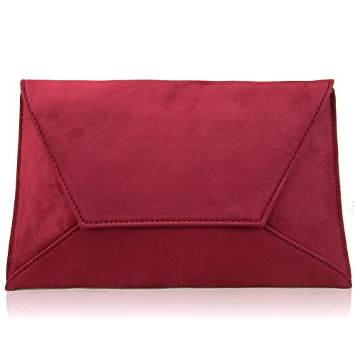 Envelope Flat Ladies Suede Clutch London Bridesmaid Evening Party Bags Large Women Xardi Burgundy Prom a1IxBqwSn