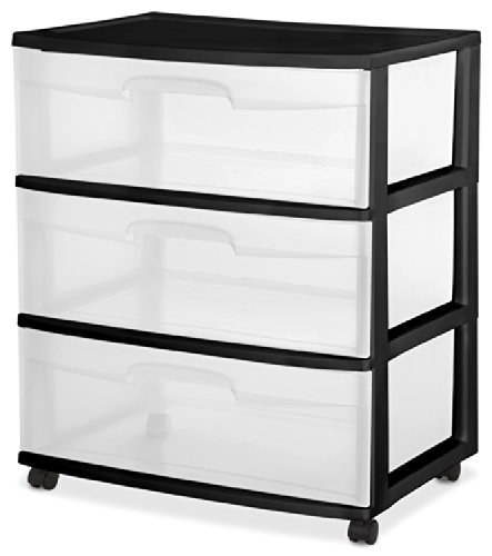 Sterilite 29309001 Wide 3 Drawer Cart, Black Frame with Clea