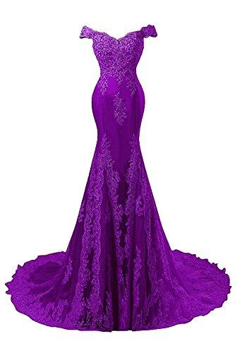 de Noche de JAEDEN Encaje Novia Vestido Baile Sirena de Mujer Largo Satín Vestido Vestidos Morado CCwt0vxq
