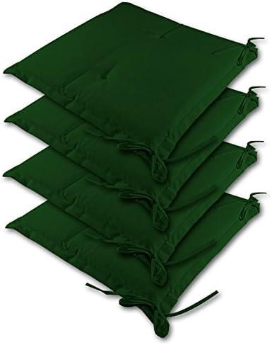 Detex 4X cojínes Sydney Verde para sillas almohadones Interior y Exterior Acolchado con Cintas de sujetación 41x37cm