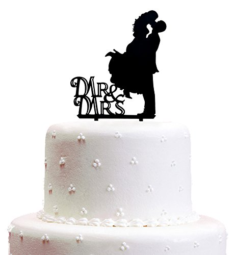 Wedding Cake Toppers, KOOTIPS Hard Acrylic DIY Wedding Mr & Mrs Bride Bridegroom Cake Snack Decorations Picks Suppliers Party Accessories for Wedding Shower (Mr & Mrs Bride Bridegroom A)