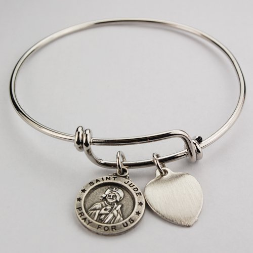 - Womens Pewter Round St. Jude Charm Medal with Heart Charm, 2 3/4
