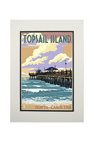 Topsail Island, North Carolina - Pier and Sunset (11x14 Double-Matted Art Print, Wall Decor Ready to -