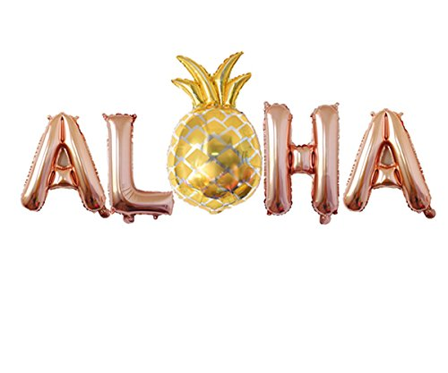 "Rose&Wood ALOHA Foil Letter Balloons With Pineapple Balloon For Tropical party Luau Décor Summer party,16"",Rose Gold"