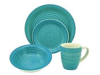 Lorren Home Trends 16-piece Stoneware Dinnerware Set, Blue 0