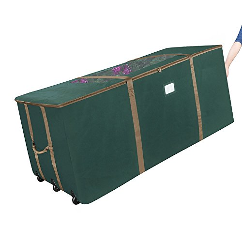 Box Storage Green Premium - Elf Stor Rolling Christmas Storage Premium Duffel Bag with Wheels - Holds up to a 9 Foot Artificial Tree in Green