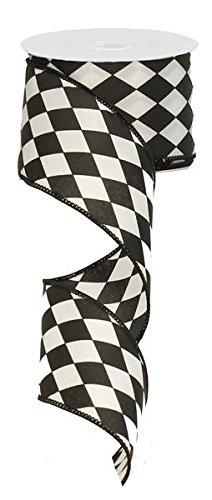 Black Harlequin Ribbon: Crisp Black and White Wired